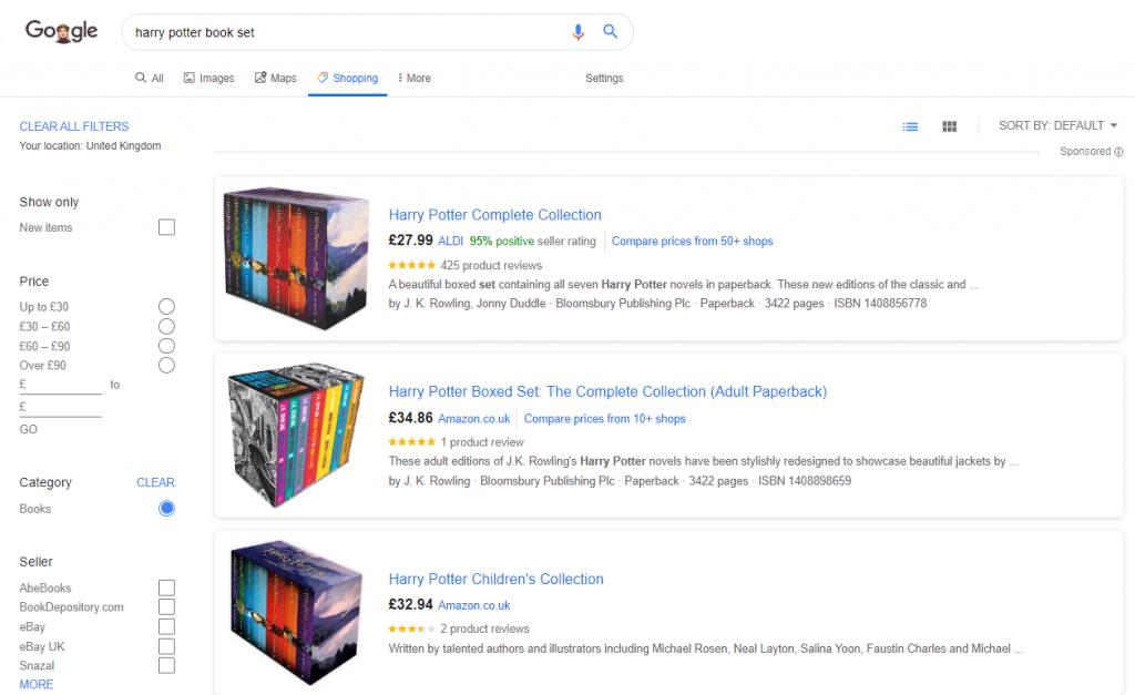 Google Shopping results page