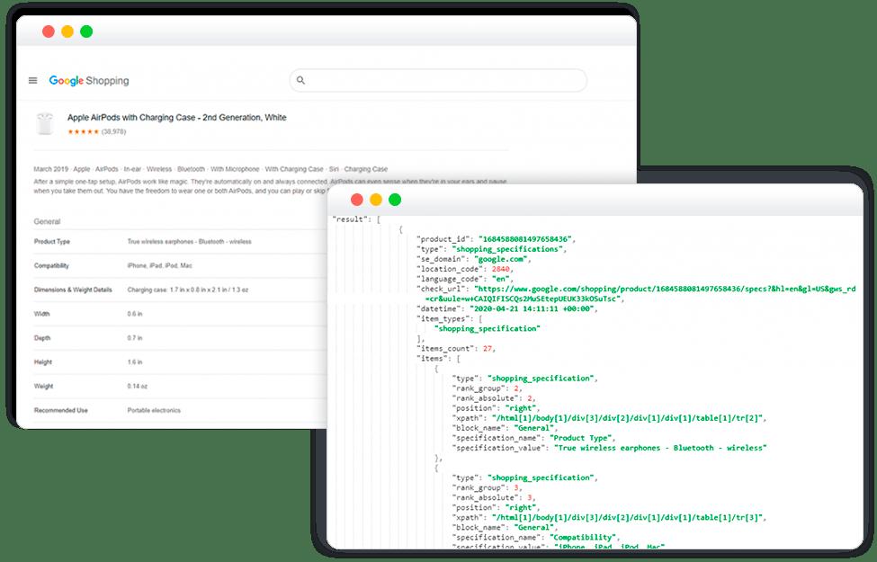 Google Shopping Product Specs API